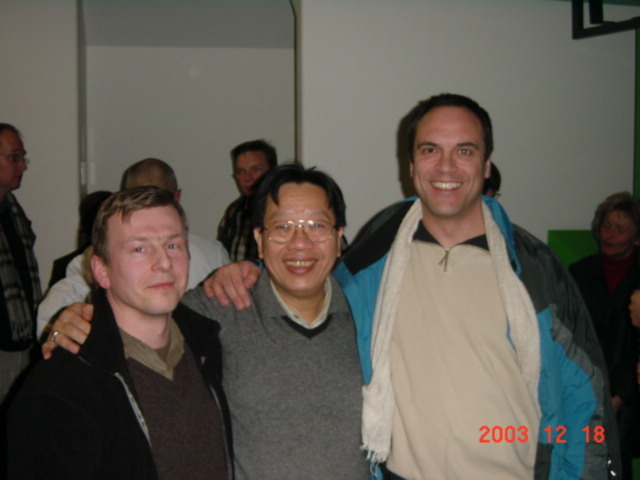 tran quang hai, sven gravunder, wolfgang saus on voice conference at university of aachen 2003. photo