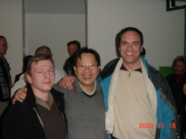 tran quang hai, sven gravunder, wolfgang saus on voice conference at university of aachen 2003. photo